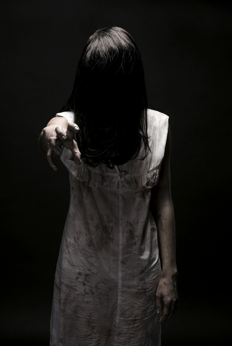 Dead girl without face. Halloween theme.