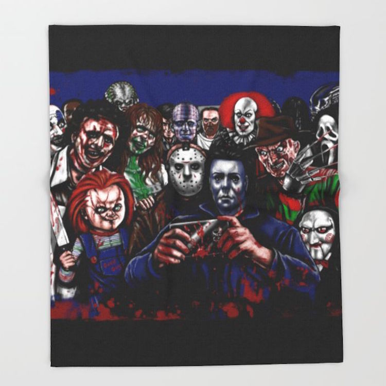 horror-villains-selfie-throw-blankets