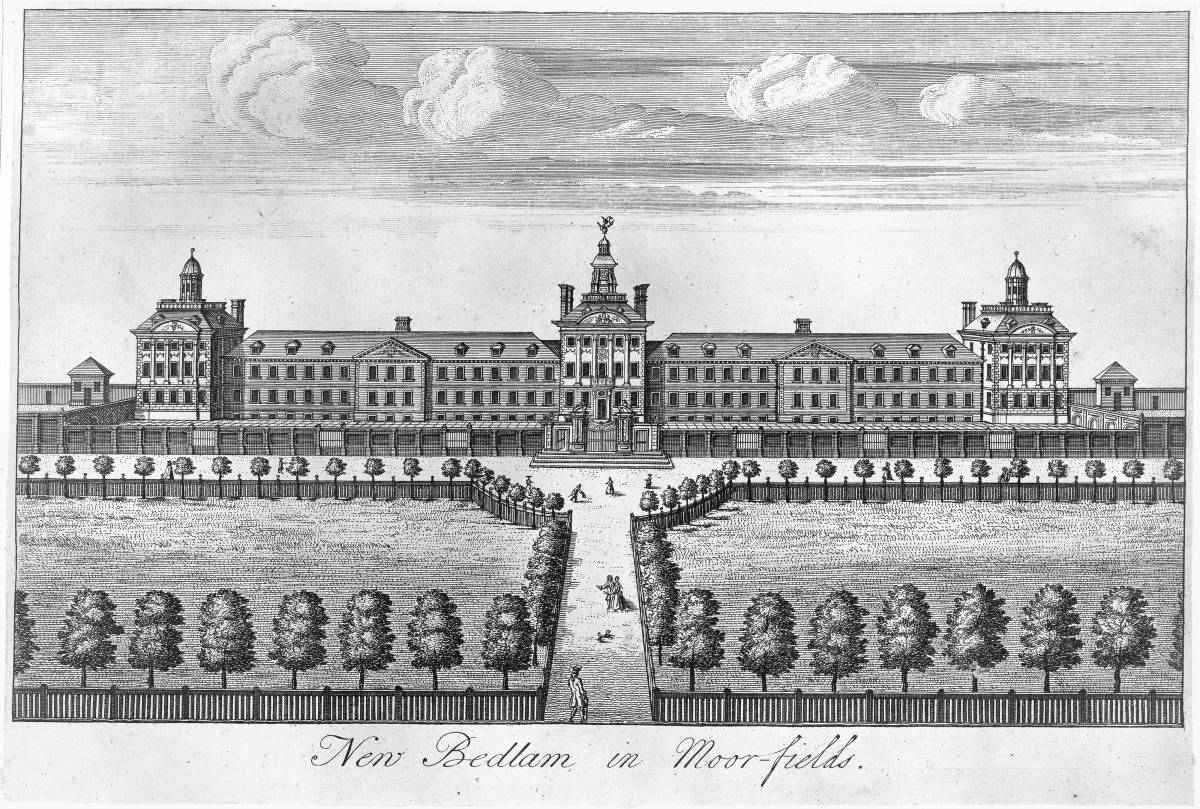 L0012307 The Hospital of Bethlem [Bedlam] at Moorfields, London: seen Credit: Wellcome Library, London. Wellcome Images images@wellcome.ac.uk http://wellcomeimages.org The Hospital of Bethlem [Bedlam] at Moorfields, London: seen from the north, with people walking in the foreground. Engraving. Engraving after: Robert HookePublished: - Copyrighted work available under Creative Commons Attribution only licence CC BY 4.0 http://creativecommons.org/licenses/by/4.0/
