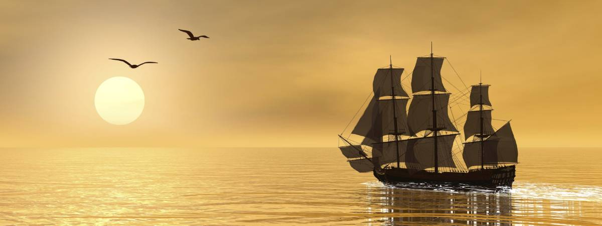 Beautiful detailed old merchant ship next to seagulls by sunset