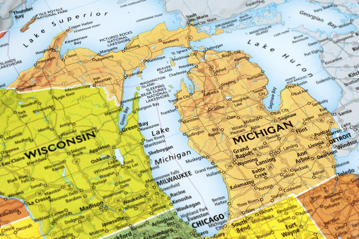 Map of Michigan State in USA.