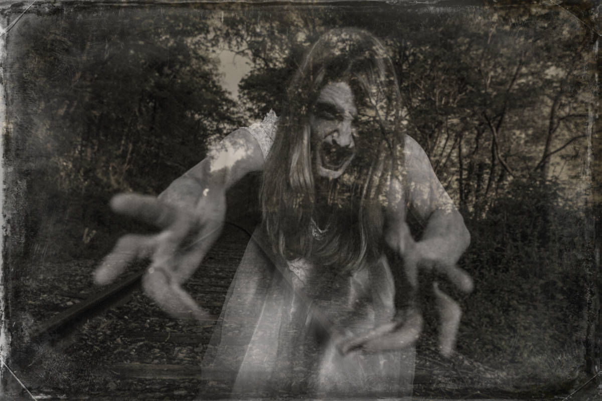 Ghostly wraith coming for you. This stock image has a horizontal composition.