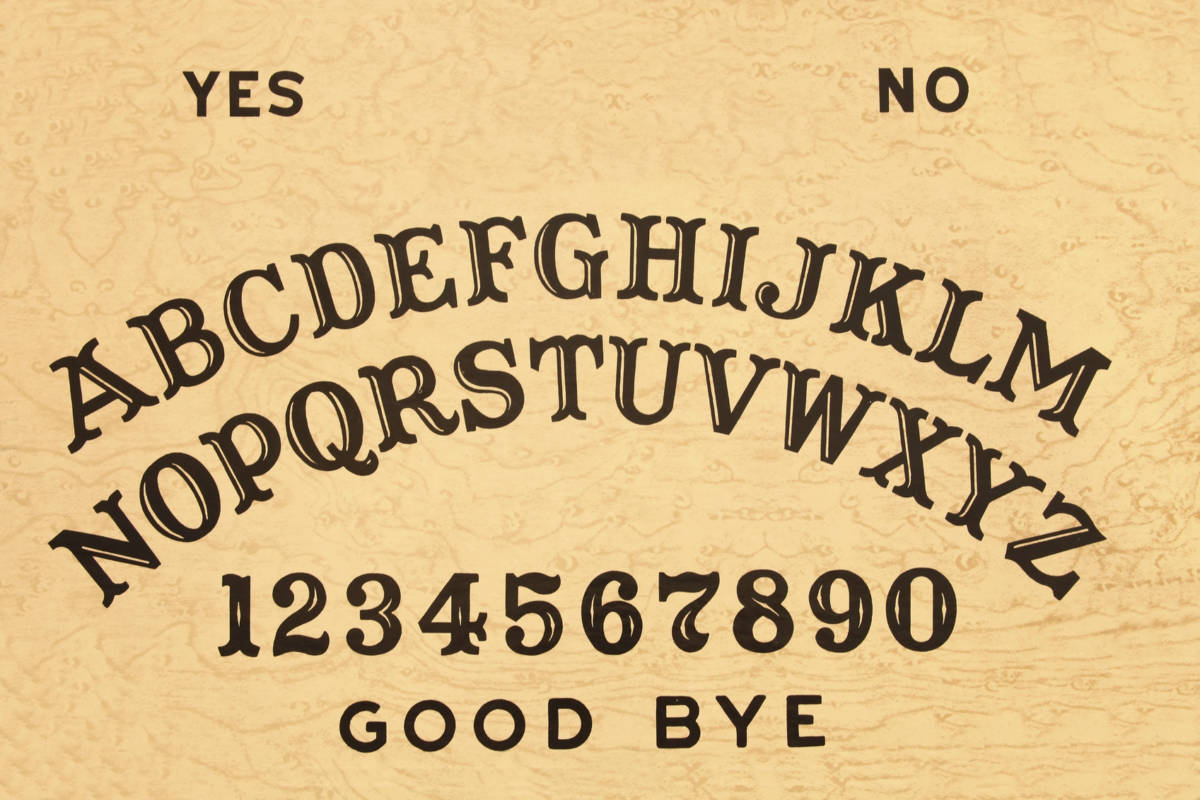 """Image of a Ouija board - this is the original and vintage text arrangement of letters, numbers, and words."""